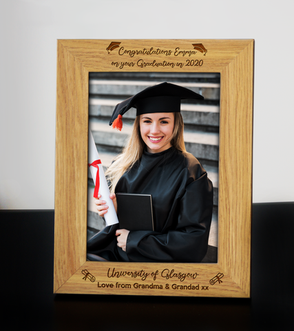 Personalised Wooden Engraved Graduation 2 Photo Frame University Degree Gift