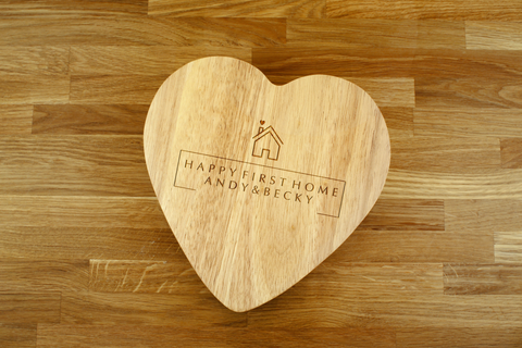 Personalised Engraved Heart Shaped Cheese Board Gift Set - HAPPY FIRST HOME