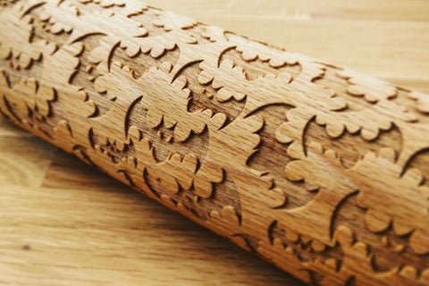 HALLOWEEN BATS engraved embossed BIG rolling pin by Wood's Good