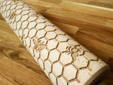 Honeycomb and bees engraved embossed rolling pin BIG