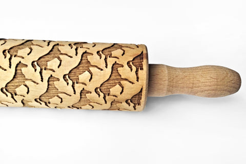HORSES Rolling pin, HORSES Engraved MINI ROLLING PINS, Horses KIDS mini rolling pin, Engraved rolling pin with horses pattern, Cookies with horses pattern, Horses embossing roling pin,Embossing rolling pins, Wood's Good Engraved rolling pins