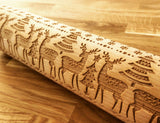 CHRISTMAS DEERS engraved embossed BIG rolling pin by Wood's Good