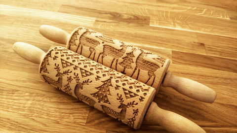 CHRISTMAS DEERS engraved embossed MINI rolling pin by Wood's Good