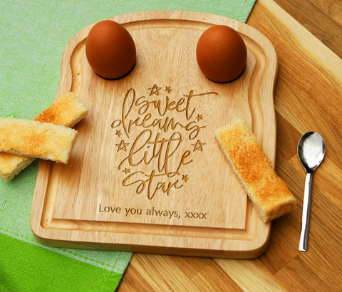 Personalised Engraved EGG & TOAST Board - SWEET DREAMS LITTLE STAR