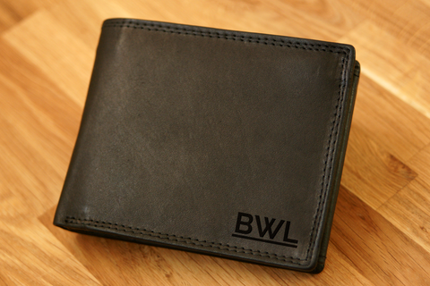 Personalised Engraved Black Leather Wallet RFID - MONOGRAM 1