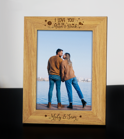 Personalised Engraved Photo Frame I LOVE YOU TO THE MOON AND BACK Wedding Anniversary Birthday Keepsake Gift
