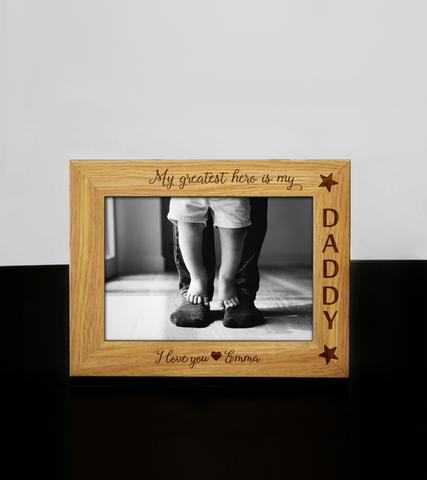 Personalised Wooden Engraved Daddy HERO Photo Frame Fathers Day Birthday Keepsake Gift