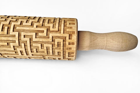 MAZE LABYRINTH Rolling Pin - MAZE Embossing ROLLING PIN, Geometric rolling pin, Maze engraved rolling pin,Engraved kids geometry rolling pin Embossed Rolling Pin, Dough Roller, Pattern Roller, Cookie Stamp Laser Engraved Rolling Pin, Christmas Gift, Birthday gift funny geometry pattern cookies, Dinosaurs rolling pin, Cookies with dinosaurs pattern, Best rolling pin, Funny gift for baking lovers  Wood's Good