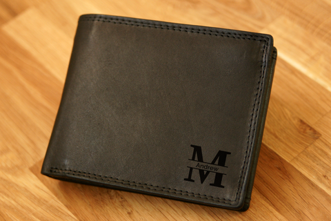 Personalised Engraved Black Leather Wallet RFID - MONOGRAM 2