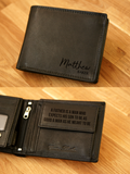 Personalised Engraved Black Leather Wallet RFID - NAME