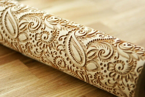 PAISLEY FLORAL PATTERN engraved embossed embossing rolling pin BIG folklor pattern folk pattern christmas gift kitchen utensil cookie cutter