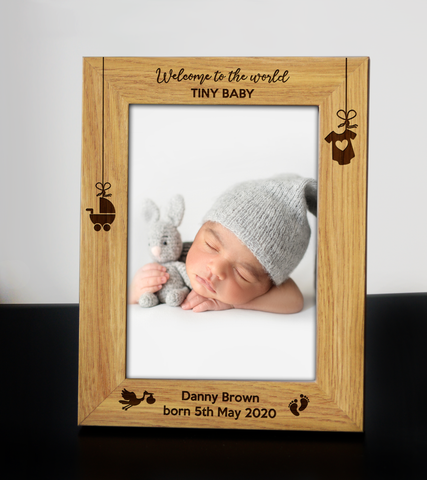 Personalised Wooden Engraved New Baby Birth New Born Photo Frame First Scan Gift