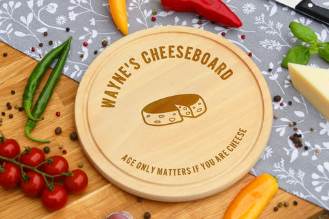 Personalised Engraved Cheese Round Chopping Board for Birthday Day Gift - AGE ONLY MATTERS IF YOU ARE CHEESE