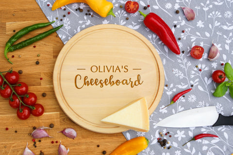 Personalised Engraved Cheese Round Chopping Board for Birthday Day Gift