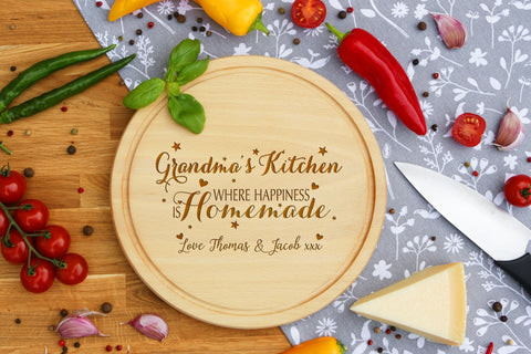 Personalised Engraved Cheese Round Chopping Board for Grandparents Day Gift