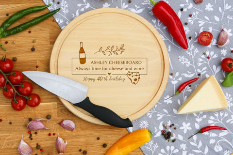 Personalised Engraved Cheese Round Chopping Board for Mothers Fathers Day Gift - ALWAYS TIME FOR CHEESE AND WINE