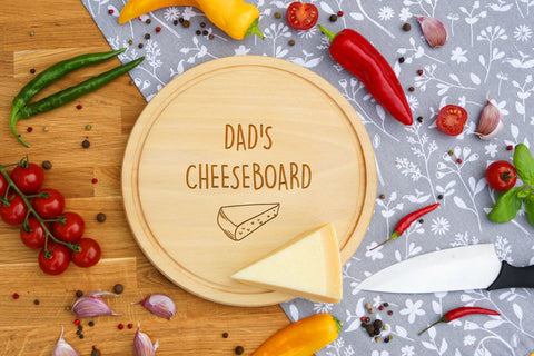 Personalised Engraved Cheese Round Chopping Board for Mothers Fathers Day Gift - DAD'S CHEESEBOARD