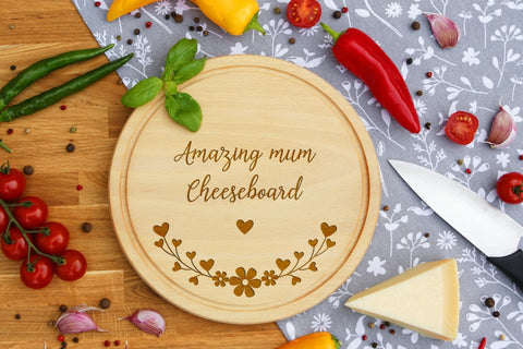 Personalised Engraved Cheese Round Chopping Board for Mothers Fathers Day Gift - ANY MESSAGE ENGRAVING
