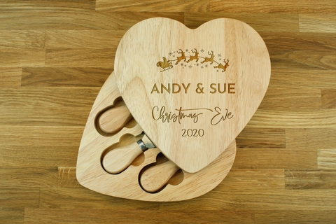 Personalised Engraved Heart Shaped Cheese Board Gift Set - Christmas Eve