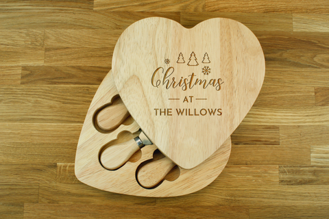 Personalised Engraved Heart Shaped Cheese Board Gift Set - Christmas Trees