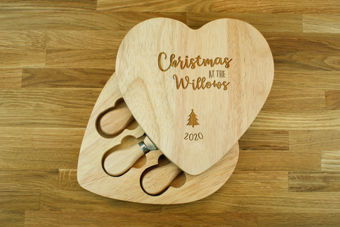 Engraved Heart Shaped Cheese Board Gift Set - CHRISTMAS AT THE_2