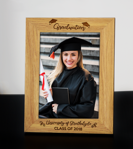 Personalised Wooden Engraved Graduation Photo Frame University Degree Gift