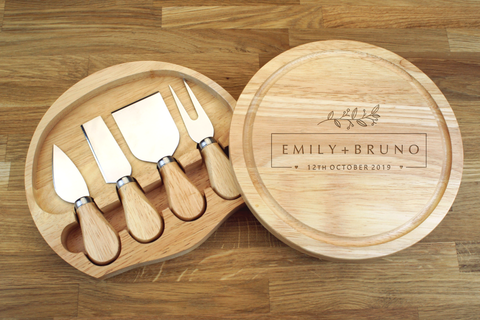 Personalised Engraved Cheese Board Gift Set - Wedding Gift For Husband And Wife