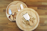 Personalised HOME SWEET HOME Wooden Cheeseboard Gift Set - Engraved with Knife Set by Wood's Good - Made in UK -