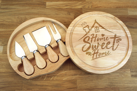 Personalised HOME SWEET HOME Wooden Round Shaped Cheeseboard Gift Set - Engraved with Knife Set by Wood's Good - Made in UK - Valentine's Day Gift for Cheese Lovers
