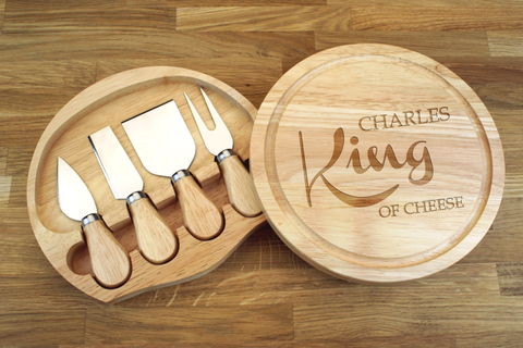 Personalised KING OF CHEESE NAME Wooden Cheeseboard Gift Set - Engraved with Knife Set by Wood's Good - Made in UK -