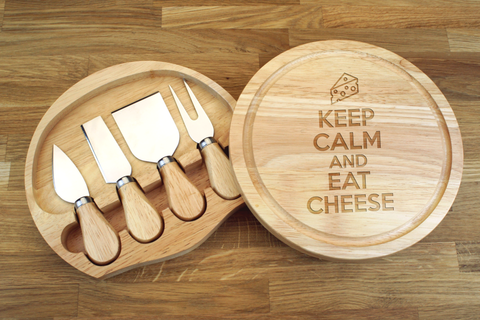 Personalised KEEP CALM AND EAT CHEESE Wooden Cheeseboard Gift Set - Engraved with Knife Set by Wood's Good - Made in UK -