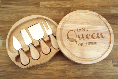 Personalised QUEEN OF CHEESE NAME Wooden Cheeseboard Gift Set - Engraved with Knife Set by Wood's Good - Made in UK -