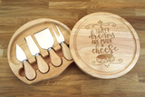 Personalised SWEET DREAMS ARE MADE OF CHEESE Wooden Cheeseboard Gift Set - Engraved with Knife Set by Wood's Good - Made in UK - WEDDING GIFT FOR COUPLES