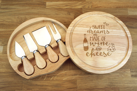 Personalised SWEET DREAMS ARE MADE OF WINE AND CHEESE Wooden Cheeseboard Gift Set - Engraved with Knife Set by Wood's Good - Made in UK - WEDDING GIFT FOR COUPLES