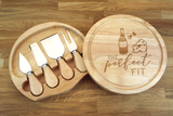 Personalised Wine and Cheese - THE PERFECT FIT Wooden Cheeseboard Gift Set - Engraved with Knife Set by Wood's Good - Made in UK -