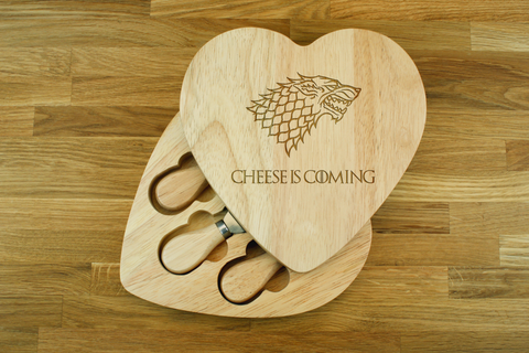 Personalised CHEESE IS COMING Game of Thrones Inspired Wooden Heart shaped Cheeseboard Gift Set - Engraved with Knife Set by Wood's Good - Made in UK -