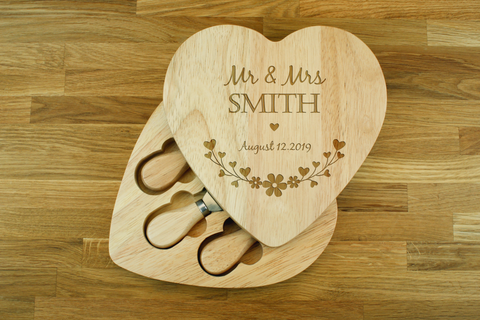Personalised Heart Shaped Cheese Board and Knives Set - Personalized Wedding Anniversary Gift for Couples - Wedding Gifts For Husband And Wife