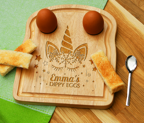 Personalised Engraved EGG & TOAST Board - UNICORN 2
