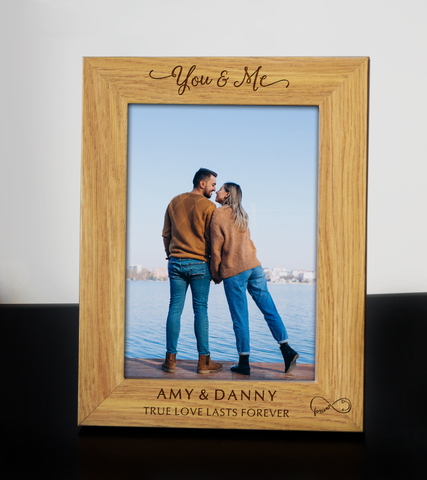 Personalised Engraved Frame YOU & ME Love Couple Wedding Anniversary Birthday Keepsake Gift