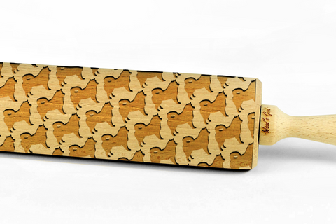 ALASKAN MALAMUTE - Engraved rolling pin, embossing rolling pin with dog breed pattern by Wood's Good Made in UK