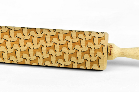 AIREDALE TERRIER - Engraved rolling pin, embossing rolling pin with dog breed pattern by Wood's Good Made in UK