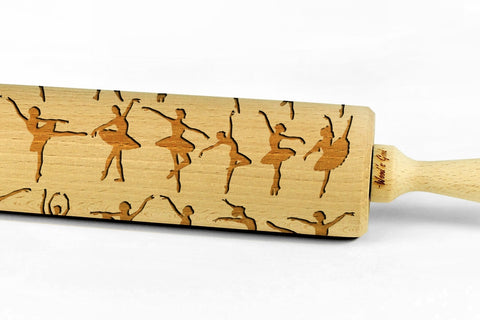 BALLERINA | BALLET DANCERS engraved embossed BIG rolling pin ballerinas ballet dancers pattern embossing kids rolling pin christmas gift kitchen utensil cookie cutter by Wood's Good