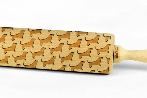 BASSET HOUND - Engraved rolling pin, embossing rolling pin with dog breed pattern by Wood's Good Made in UK