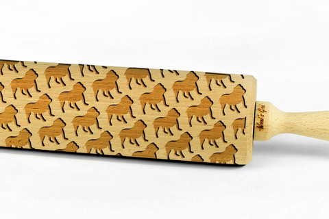 BULLDOG - Engraved rolling pin, embossing rolling pin with dog breed pattern by Wood's Good Made in UK