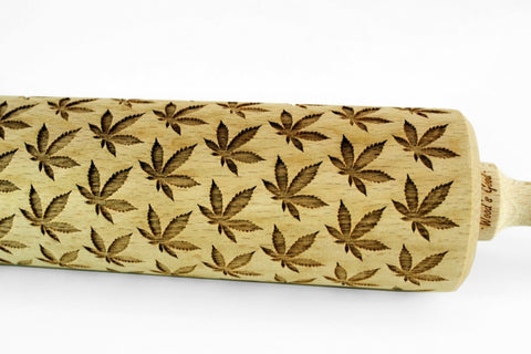 CANNABIS LEAF Embossing ROLLING PIN, Ganja pattern cookies, Cannabis pattern cookies, Best gift for bakers, Cookie Stamp Laser Engraved Rolling Pin, Funny gift for baking lovers