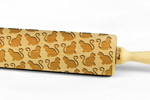 CATS 2 Embossing BIG Rolling Pin Wooden Laser Engraved Mini Rolling Pin With CATS For Embossed Cookies