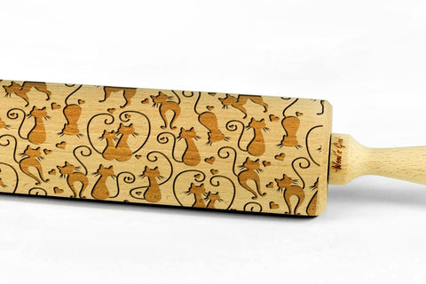 CATS IN LOVE Embossing BIG Rolling Pin Wooden Laser Engraved Mini Rolling Pin With CATS For Embossed Cookies