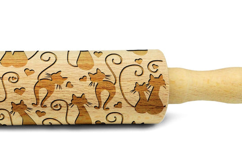 CATS IN LOVE engraved embossed MINI rolling pin by Wood's Good cats pattern embossing kids rolling pin