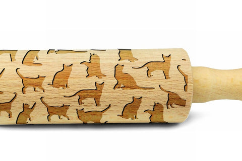 CATS Pattern Embossing MINI Rolling Pin Wooden Laser Engraved Mini Rolling Pin With CATS For Embossed Cookies Cats Lovers Gift Kitchen utensil