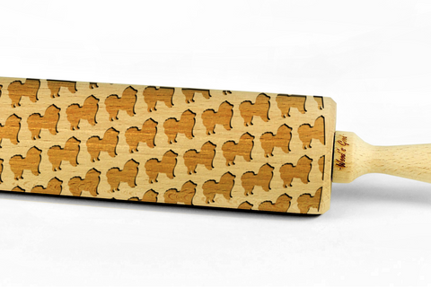 CHOW CHOW - Engraved rolling pin, embossing rolling pin with dog breed pattern by Wood's Good Made in UK